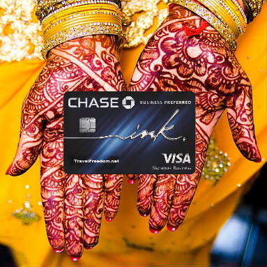 hands holding chase ink preferred card