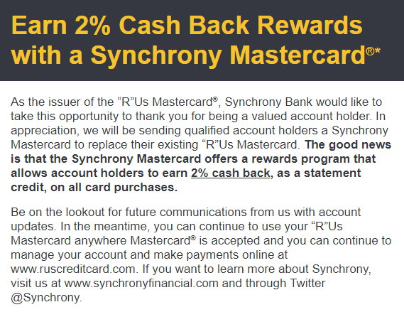 Toys R Us Credit Card to Synchrony