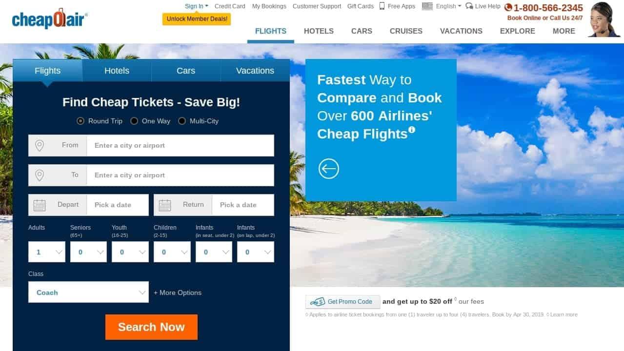 cheapoair best flight search engine