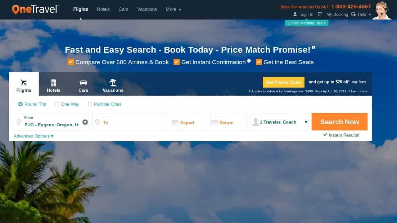 onetravel best flight search engine