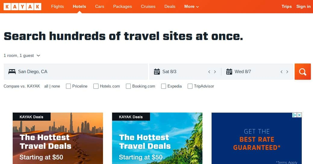 kayak hotel booking site