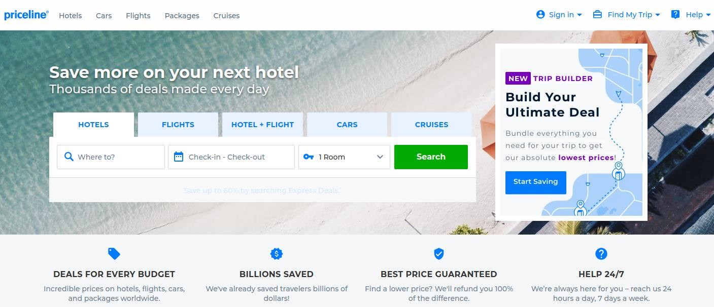 priceline hotel booking site